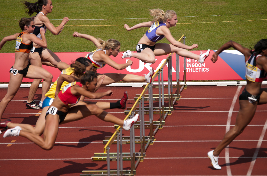 Heat 1 of the Womens 100m Hurdles Semi-Final