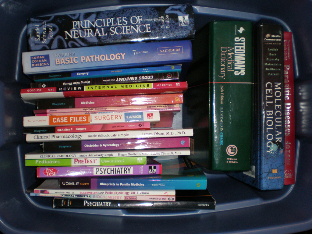 box of medical textbooks