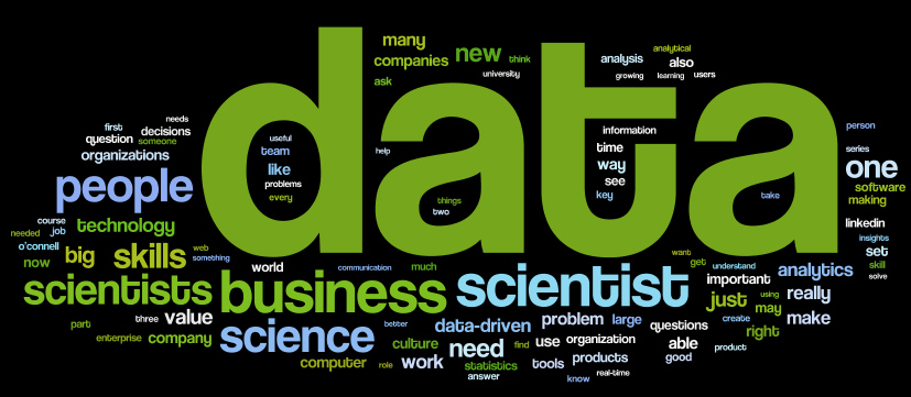 "Forbes ""what is a data scientist"" series word cloud"